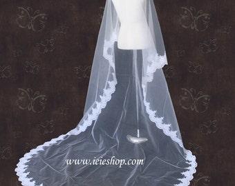 Waltz Length Lace Edge Mantilla Wedding Veil | Lace Bridal Veil | Lace Wedding Veil | 72'' Lace Veil | Long Veil | VG1001