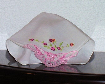 Hankie with Hand Embroidered Red and Pink Flowers Vintage 1950s