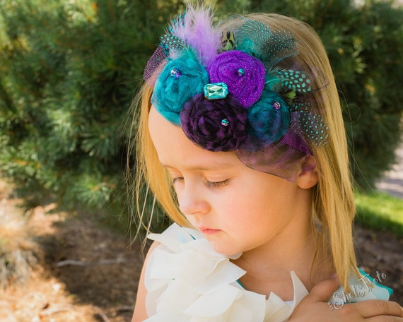 Fabric Rosette Headband, Rolled Tulle Rosettes and feathers in Peacock turquoise, purple, green (formal, photo prop, baby girl, newborn)