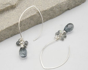 Gray Quartz and Labradorite Drop Earrings, Handmade Artisan Silver Jewelry, Unique Sterling Silver Earrings with Semi Precious Stones