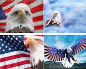 Lot Of 6 Patriotic Eagle USA Fabric Panel Quilt Squares