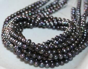 2 Full Strands 5-5.5mm Freshwater Black Pearl in Potato Shape