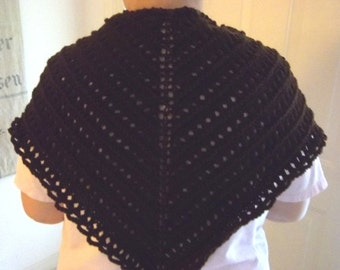 Shawl - Hand Knitted Triangle Shawl - Wrap around your Shoulders - Knitted in Dark Brown