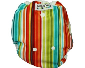 Caribbean Stripe Cloth Diaper Cover Use With Our AI2 Inserts, Fitted or Prefolds - One Size Fits Newborns to Potty Training - FAST SHIPPING