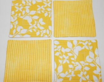 Yellow Quilted Coasters Set  Reversible  Mug Rugs  by SEW FUN QUILTS