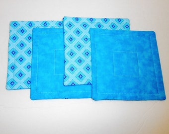 Aqua Quilted Fabric Coasters Set Reversible  by SEW FUN QUILTS