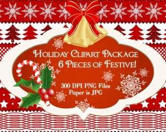 Christmas Clipart, Holiday Clipart, Festive Clipart