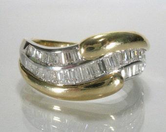 Fine Baguette Diamond Ring - Estate - 1.00 Carat Baguette Cut Diamonds- 18K Gold - Appraisal Included