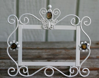 Photo Frame, Upcycled, Painted White Metal Frame