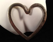 Vintage, Silvery Heart Pendant, Textured : P10
