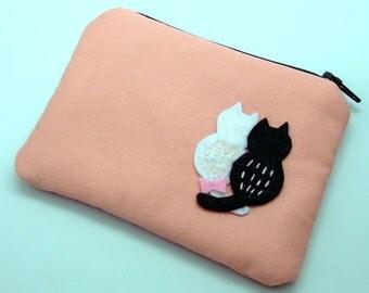 Cat lover - Zipper pouch / coin purse / card bag (padded) (ZS-62)