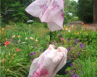 SALE 2 Pink floral Scarves, mid-century Carnation and Rose