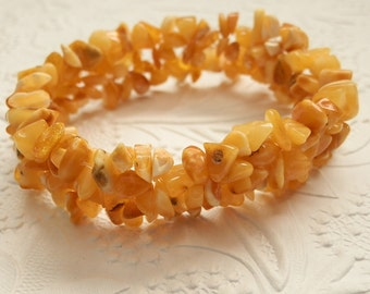 Charming Natural Butterscotch Baltic Amber Beadweaved Stretch Bracelet