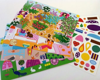 GIrly Girl Hidden Shape Sticker Scene Set, Four Scene Cards w/ Over 100 Stickers, Travel Game, Party Favor, Girls Gift