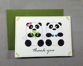 Panda Wedding Thank You 4-Bar Folded Card (Set of 10)