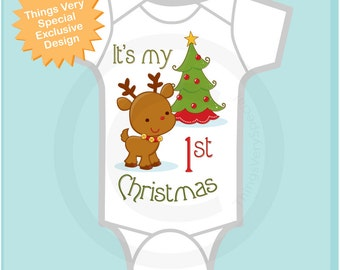 1st Christmas Onesie or shirt, First Christmas Shirt or Onesie, 1st Christmas T-Shirt or Onesie, Reindeer Shirt (11212011a)