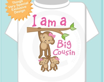 Girl's I Am a Big Cousin of Twin Girls Shirt or Onesie with twin girl babies, Personalized (02262014f)