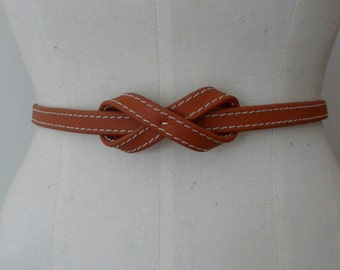 Tan leather skinny knot belt