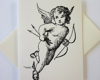Cupid Cards Set of 10 in White or Light Ivory with Matching Envelopes