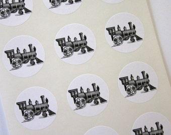Train Stickers One Inch Round Seals