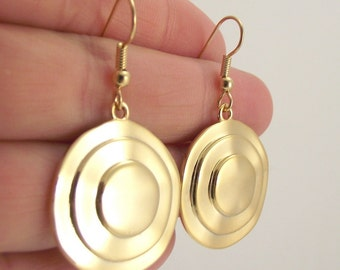Large Gold Circle Earrings, Gold Round Earrings, Geometric Earrings