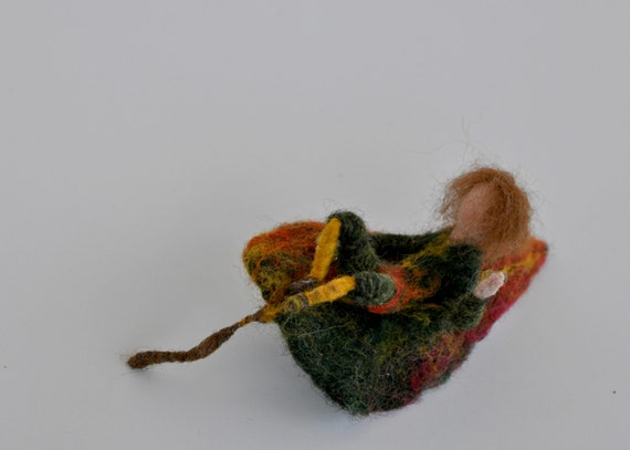 Needle Felted Waldorf Doll. Leaf child. Autumn. Made to order