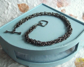 Handcrafted Antique Silver Plated Chain maille Bracelet