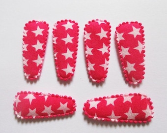 25 pcs - Cute Star  Hair Clip COVERS for toddler -  size 35 mm - HOT PINK  color