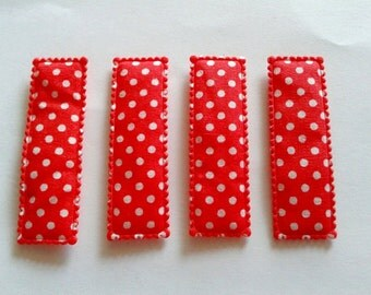 25  pcs - Cute DOT Rectangular Hair Clip COVERS -  Red  - size 55 mm