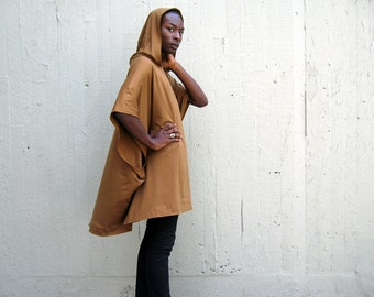 Avant Garde Poncho Cape Cloak with Hood - Gold Camel