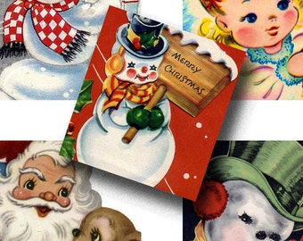 Digital Collage Sheet - Square Kids Vintage Christmas Card Tags 2 Inches
