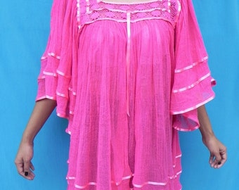 Mexican Top Blouse Pink Color Spring / Summer 100 % Cotton Very Comfortable Medium / Large
