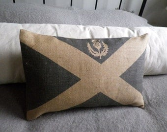 Hand printed Scottish Saltire  flag cushion cover