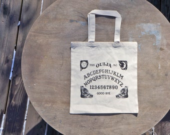 Ouija Board Vintage Style Natural color Cotton Tote Bag / Trick or Treat Bag
