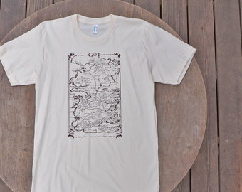 Game of Thrones Map of Westeros Tee on Organic American Apparel Tshirt in Natural Color for Men