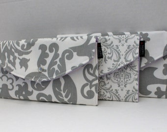 Set Of 3 -  Delightful Damask In Grey - Bridesmaid Clutches