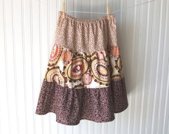 Cotton Skirt, Floral Skirt, 3 Tiered Skirt, Summer Skirt, Womens Skirt, Brown Floral Skirt, Size Medium Skirt, Size Small Skirt, Large Skirt