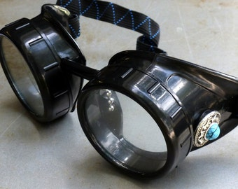 Steampunk Goggles Airship Captain Apocalyptic Mad Scientist Victorian Limited SSS-blue