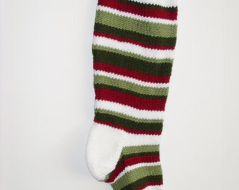 S13 Striped Christmas Stocking - Dark Red and Greens