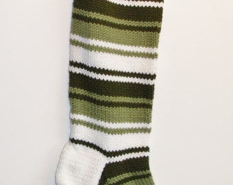 S11 Striped Christmas Stocking - Olive & Sage