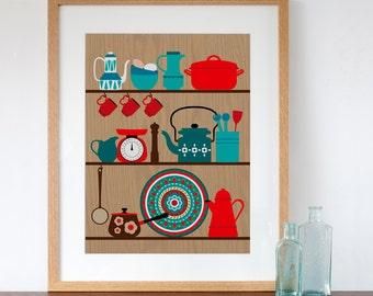 Retro kitchen shelves art print