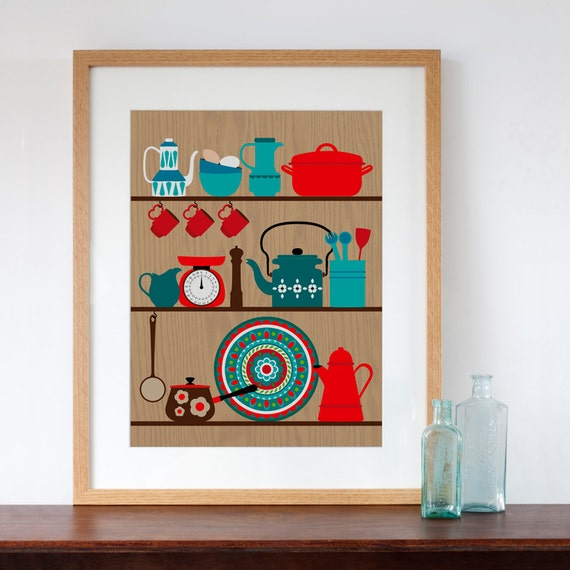 Retro Kitchen Shelves Art Print By Natalie Singh