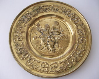 Brass Tray Embossed Made in Holland
