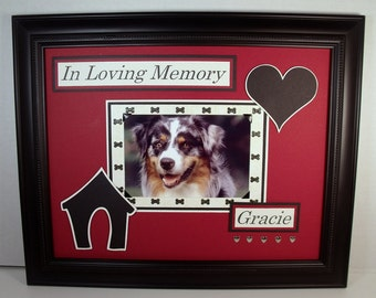 Personalized Dog Memorial - In Loving Memory - 11x14 or 10x20 UNFRAMED Insert - Any Background Color You Choose