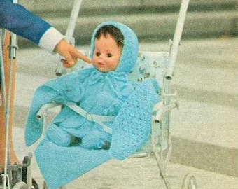 Vintage knitting pattern for Dolls layette. 14 inch doll. Womans weekly mag