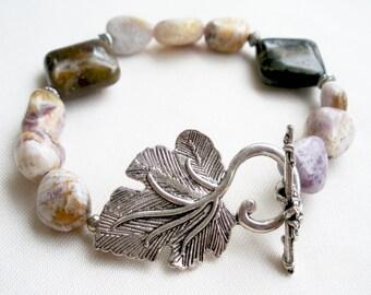 Gemstone bracelet with silver leaf toggle
