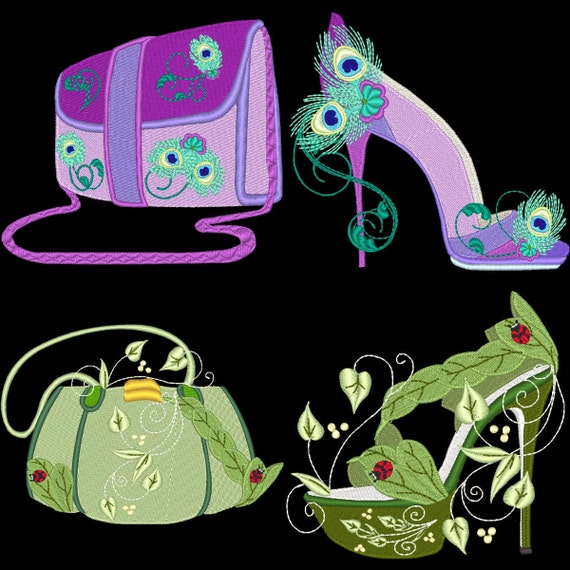 FANTASY SHOES & PURSES - 40 Machine Embroidery Designs Instant Download 4x4 5x7 (AzEB)