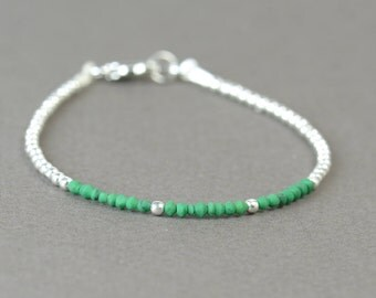 Tiny  cone green color and sterling silver beads  bracelet