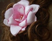 Fabric hair flower pink satin handcrafted wearable art flowers on large clip.