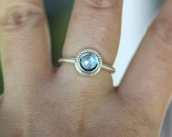 Rose Cut Swiss Blue Topaz Sterling Silver RIng, Gemstone RIng, In No Nickel / Nickel Free, Granulated Ring - Made To Order